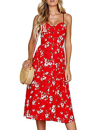 preiswerte Spaß am Strand!-Damen Schlank A-Linie Hülle Kleid - Druck, Blumen Midi Gurt