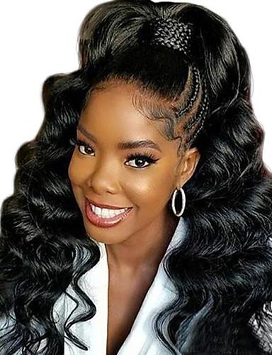 povoljno Perike s ljudskom kosom-Remy kosa 360 Frontalni Lace Front Perika Duboko udaljavanje stil Brazilska kosa Wavy Valovita kosa Natural Perika 150% Gustoća kose 10-22 inch s dječjom kosom Prirodna linija za kosu Afro-američka