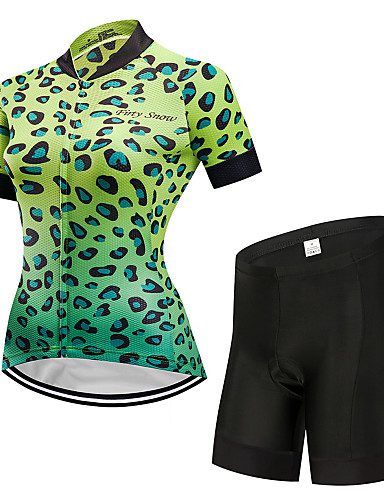 povoljno Odjeća za vožnju biciklom-FirtySnow Žene Kratkih rukava Biciklistička majica s kratkim hlačama Zelen Leopard Bicikl Sportska odijela Prozračnost Ovlaživanje Quick dry Sportski Poliester Leopard Brdski biciklizam biciklom na