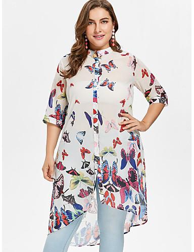billige Dametopper-Løstsittende Skjortekrage Store størrelser Skjorte Dame - Grafisk, Lapper / Trykt mønster Sommerfugl Beige