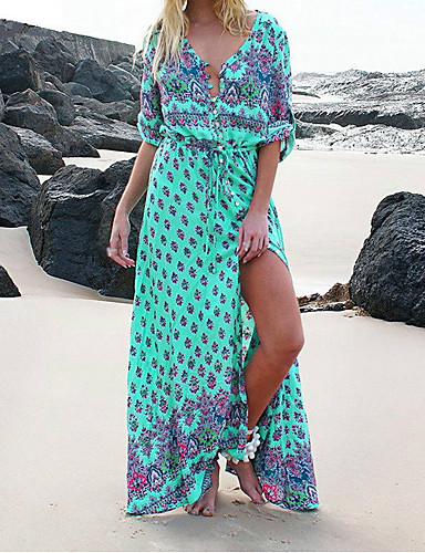 preiswerte Spaß am Strand!-Damen Elegant Hülle Kleid - Druck Maxi V-Ausschnitt / Sexy