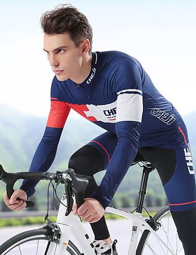 povoljno Biciklizam-cheji® Muškarci Dugih rukava Biciklistička majica s tajicama Plava Crna / crvena Blue + Pink Bicikl Bib Shorts Sportska odijela Prozračnost Quick dry Sportski Likra Brdski biciklizam biciklom na cesti