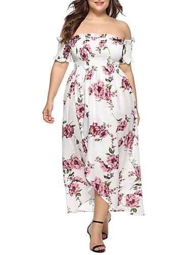levne Šaty velkých velikostí-Dámské Větší velikosti Základní Pouzdro Šaty - Geometrický Maxi Bez ramínek Vysoký pas / Sexy