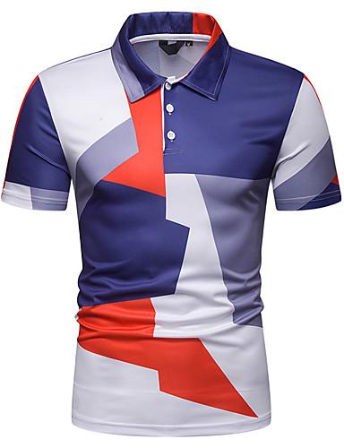 voordelige Herenpolo's-Heren EU / VS maat - Polo Geometrisch Overhemdkraag Slank blauw / Korte mouw