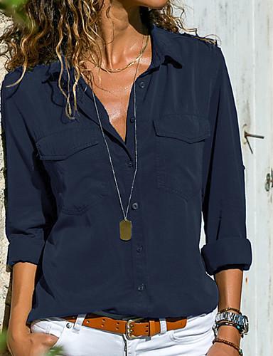 billige Skjorter til damer-Skjortekrage Store størrelser Skjorte Dame - Ensfarget Grunnleggende Grå