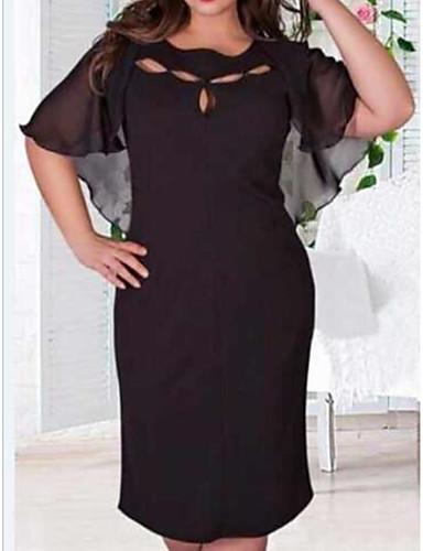 levne Šaty velkých velikostí-Dámské Šifón Šaty - Jednobarevné Délka ke kolenům