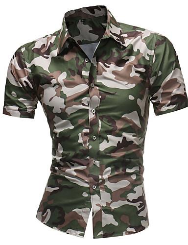 voordelige Herenoverhemden-Heren Print Overhemd camouflage Bruin / Korte mouw
