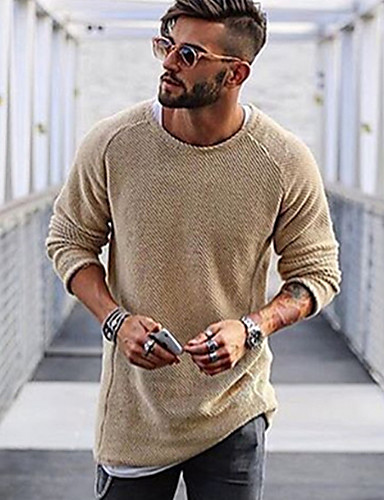 cheap Men's Sweaters & Cardigans-Men's Daily Solid Colored Long Sleeve Regular Pullover Sweater Jumper Black / Light Brown / White M / L / XL