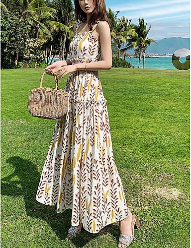 voordelige Maxi-jurken-Dames Elegant Katoen Wijd uitlopend Jurk - Geometrisch, Print Bandje Maxi Hoge taille / Hoge taille  / Sexy