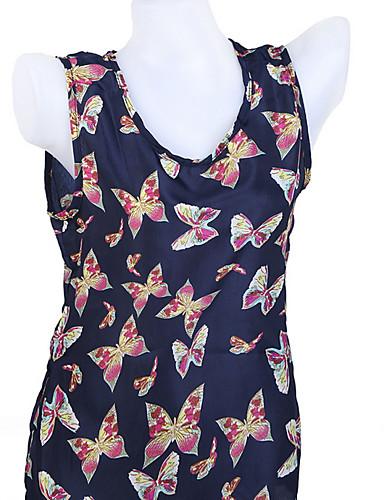 billige Dametopper-Bomull T-skjorte Dame - Dyr Navyblå