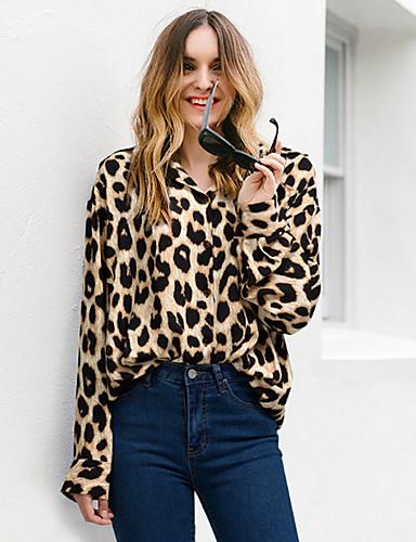 billige Dametopper-Bomull V-hals Store størrelser Skjorte Dame - Leopard Svart