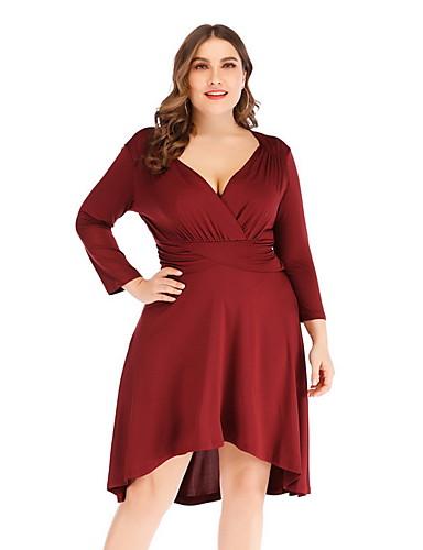 levne Šaty velkých velikostí-Dámské Větší velikosti Základní Pouzdro Šaty - Jednobarevné Délka ke kolenům Hluboké V Vysoký pas / Sexy