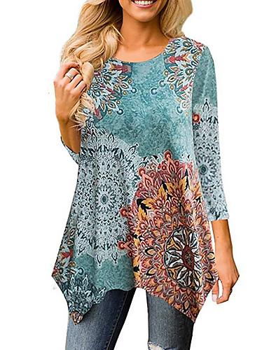 billige Dametopper-Tynn T-skjorte Dame - Geometrisk Grunnleggende Navyblå