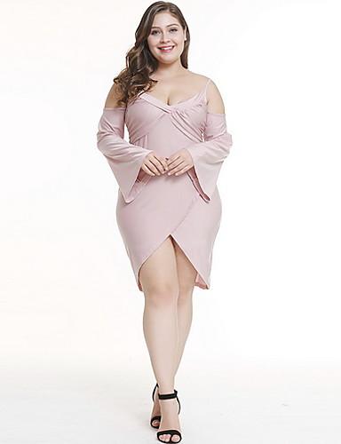 levne Šaty velkých velikostí-Dámské Větší velikosti Elegantní Pouzdro Šaty - Jednobarevné Asymetrické Hluboké V Dusty Rose / Sexy