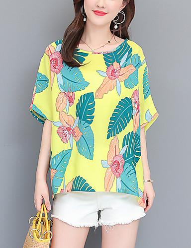 billige Dametopper-T-skjorte Dame - Blomstret, Trykt mønster Gatemote / Elegant Hvit