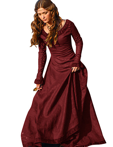 preiswerte Cosplay & Kostüme-Retro Vintage Mittelalterlich Kleid Damen Kostüm Grün / Rot / Blau Vintage Cosplay Tee Party Festival Langarm Normallänge A-Linie