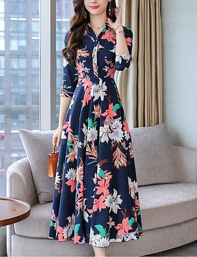 92690ad04 Mulheres Elegante Evasê Vestido - Estampado, Floral Decote V Longo / Sexy  de 7144644 2019 por $30.99