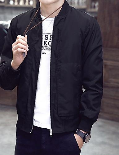 levne Pánská saka a kabáty-Pánské Denní Větší velikosti Standardní Bunda, Barevné bloky Bez límce Dlouhý rukáv Polyester Černá