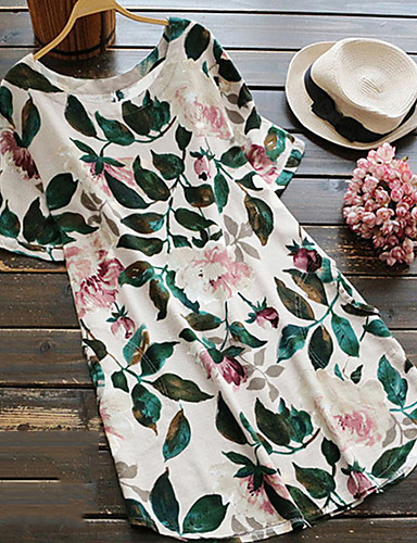 billige Dametopper-Løstsittende Store størrelser Bluse Dame - Blomstret Grunnleggende Rose Hvit / Høy Midje / Vår / Sommer / Sexy