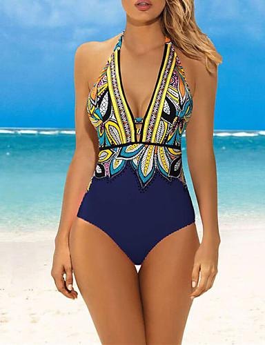 preiswerte Bikinis und Bademode-Damen Grundlegend Boho Tiefer Ausschnitt Blau Grün Rosa Dreieck Cheeky-Bikinihose Einteiler Bademode - Geometrisch Einfarbig Druck L XL XXL Blau / Super Sexy