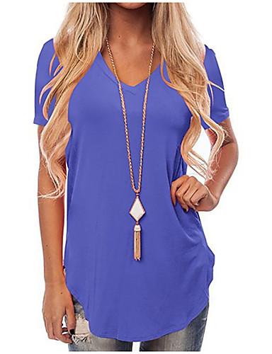 billige T-skjorter til damer-V-hals T-skjorte Dame - Ensfarget Grunnleggende Vin