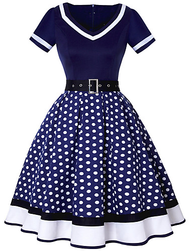 Women\'s Polka Dot Plus Size Daily Going out Vintage A Line Dress ...