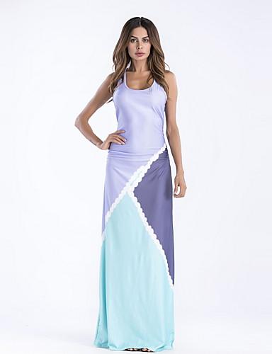 levne Maxi šaty-Dámské Štíhlý Swing Šaty - Leopard Barevné bloky, Tisk Maxi Do U