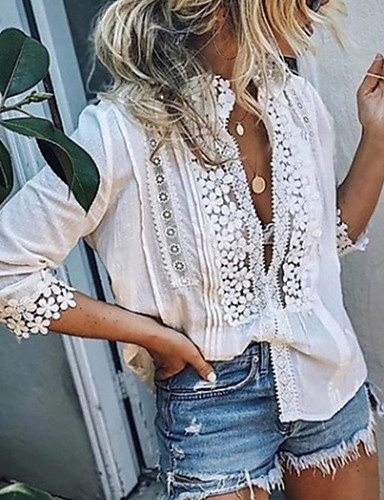 billige Skjorter til damer-Blonder Dyp V Skjorte Dame - Ensfarget, Blonde Ferie Hvit