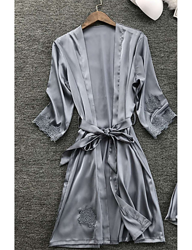 cheap Pajamas&Robes-Women's Lace Sexy Robes / Satin & Silk Nightwear Solid Colored Navy Blue Gray Wine M L XL