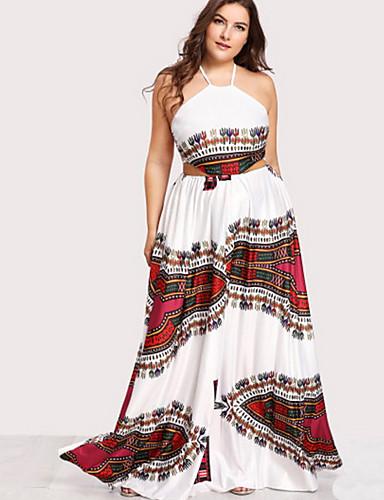 levne Šaty velkých velikostí-Dámské Větší velikosti Bavlna Swing Šaty Maxi Lodičkový / Sexy