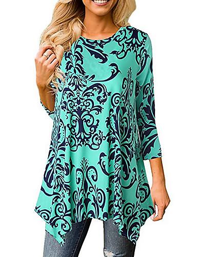 billige T-skjorter til damer-Tynn T-skjorte Dame - Geometrisk Grunnleggende Navyblå