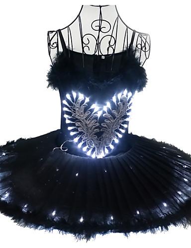 cheap Movie & TV Theme Costumes-Ballet Dancer Black Swan LED Layered Dress Tutu Bubble Skirt Under Skirt Women's Girls' Kid's Tulle Cotton Costume matte white / White / Black Vintage Cosplay Christmas Party Halloween Sleeveless