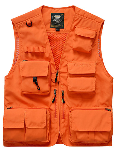 cheap Softshell, Fleece & Hiking Jackets-Men's Hiking Vest / Gilet Fishing Vest Outdoor Solid Color Breathable Quick Dry Wear Resistance Multi Pocket Jacket Top Nylon Single Slider Fishing Hiking Climbing Red / Army Green / Grey / Orange