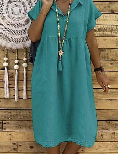 preiswerte Sommerkleider-Damen Übergrössen Elegant Etuikleid Kleid Solide Midi Hemdkragen / Sexy