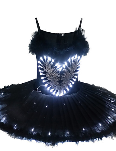 cheap Movie & TV Theme Costumes-Ballet Dancer Black Swan LED Layered Dress Tutu Bubble Skirt Under Skirt Women's Girls' Kid's Tulle Cotton Costume matte white / White / Black Vintage Cosplay Christmas Party Halloween Sleeveless