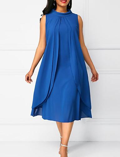 Damen Übergrössen Grundlegend Chiffon Kleid Solide Midi ...