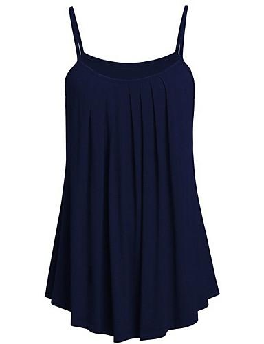 billige Dametopper-Store størrelser Singleter Dame - Ensfarget Strand Navyblå