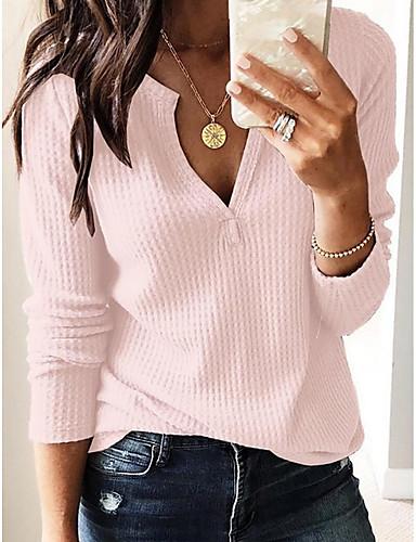 billige T-skjorter til damer-V-hals T-skjorte Dame - Ensfarget Gatemote Hvit