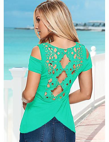 preiswerte Neon-Damen Solide - Grundlegend T-shirt Spitze Schwarz