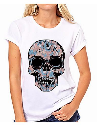 billige T-skjorter til damer-Bomull T-skjorte Dame - Ensfarget / Hodeskaller Hvit