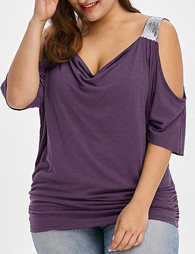 billige Dametopper-Med stropper Store størrelser T-skjorte Dame - Fargeblokk Grunnleggende Grønn