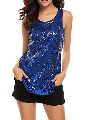 billige Dametopper-U-hals T-skjorte Dame - Ensfarget, Paljetter Grunnleggende Lilla