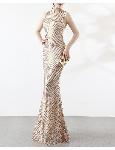 c37b2011612 Mermaid   Trumpet Jewel Neck Floor Length Taffeta   Sequined Vintage  Inspired Formal Evening Dress with Beading   Sequin   Crystals by LAN TING  Express ...
