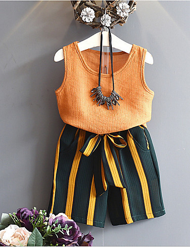 رخيصةأون فاشن وملابس-مجموعة ملابس بدون كم مخطط / لون سادة أناقة الشارع للفتيات طفل صغير