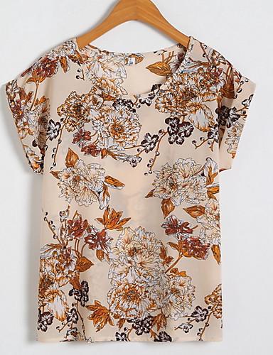 billige Dametopper-Store størrelser T-skjorte Dame - Geometrisk Grunnleggende Gul
