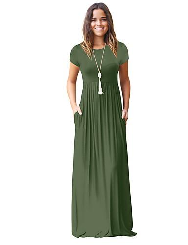 levne Maxi šaty-Dámské Základní Pouzdro Šaty - Jednobarevné Maxi Vysoký pas / Sexy