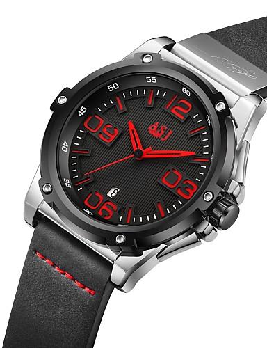 1e0480ebaf5e ASJ Hombre Reloj Deportivo Japonés Cuarzo Japonés Cuero Auténtico Negro 100  m Calendario Reloj Casual Analógico Casual Moda - Negro Naranja Rojo Dos  año ...