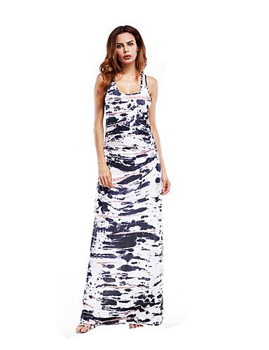 levne Maxi šaty-Dámské Štíhlý Pouzdro Šaty - Geometrický, Tisk Maxi Do U