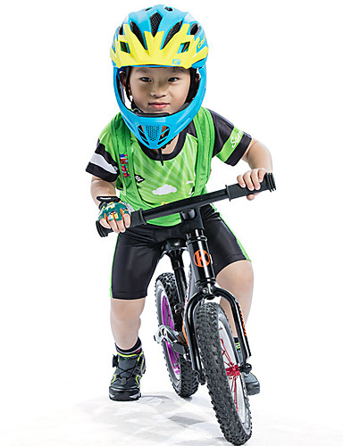 cheap Cycling-SANTIC Boys' Short Sleeve Cycling Jersey with Bib Shorts - Kid's Summer Silicone Mesh Spandex Green Cartoon Bike Padded Shorts / Chamois Clothing Suit UV Resistant Quick Dry Moisture Wicking