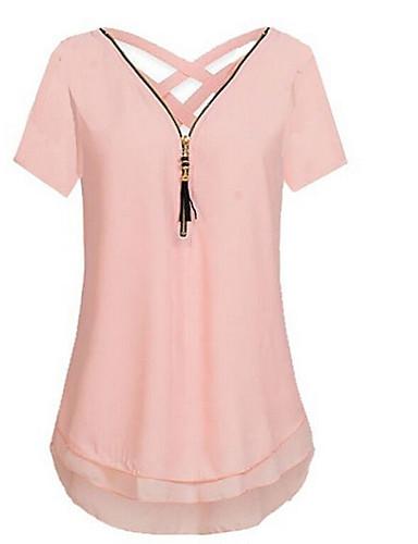 preiswerte Staubige Rose-Damen Solide Übergrössen Bluse, V-Ausschnitt Rückenfrei Staubige Rose Schwarz